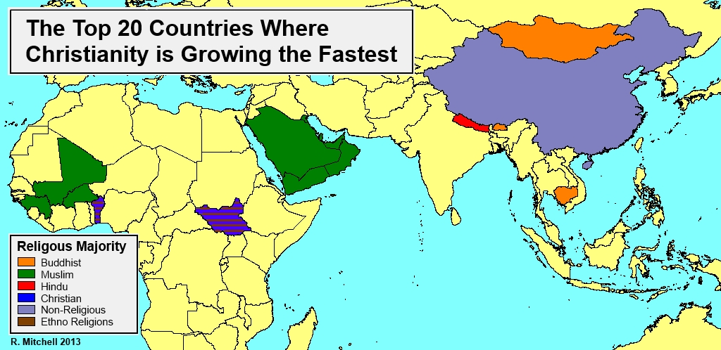 The Top 20 Countries where Christianity is Growing the Fastest